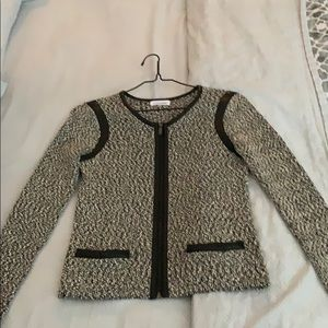 Knit jacket with leather details